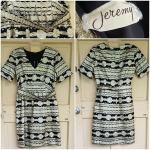 Vintage Jeremy Brocade Belted Dress